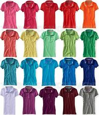 AEROPOSTALE WOMENS SOLID A87 POLO 5 BUTTON PIQUE STRETCH SCHOOL UNIFORM NWT