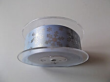 38MM BLUE WITH SILVER SNOWFLAKE CHRISTMAS , FROZEN RIBBON CAKE CRAFT CARDS NEW