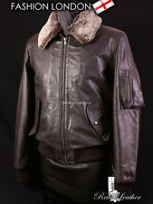 WINTER BOMBER Brown Men's Aviator Fur Collar Real Skipper Cowhide Leather Jacket