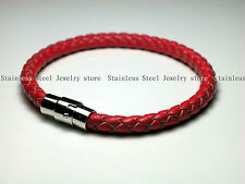 Mens leather bracelet Genuine Leather Braided Wristband Magnetic Clasp Gift Mens