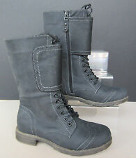 Ladies Coco Mid-calf Boots with Zip and Lace Up Black/Grey - L8616