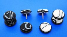 "Hottest Acrylic White & Black Or B/W  Marble Looking Fake Plugs( ""00 "" g Style )"