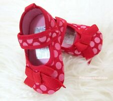 Toddler Girl Hot Reds Polka Dot Infant Baby Crib Shoe wif Hot Red Bow 0-18Month