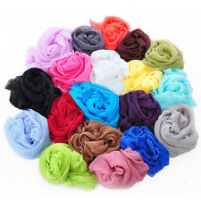 New Fashion Style Lady Oblong  Pure Color Chiffon Shawl Silk Scarf 11 Colors US