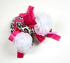 Infant Baby Toddler Girl Hot Pink Leopard Shoe Ribbon with White Rose 0-18Month