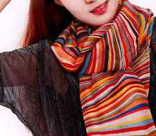 "women 100% wool scarf 71x24"" Stole Shawl Wrap Large pashmina Striped red W001"