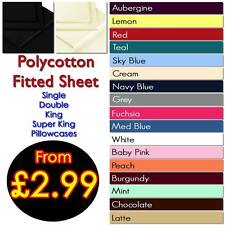 Plain Dyed Fitted Sheet 50/50 Poly Cotton Bed Sheet All Sizes & Colours in Stock