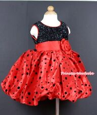Xmas Black Sparkle Red Black Dots Wedding Bridal Flower Girl Dress 2-8Year PD028