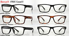 80s Retro Square Black Frame Clear Nerd Vintage Hipster GEEK Chic Glasses