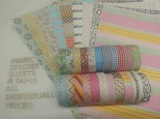 ONE Fabric Tape 5m roll OR A4 Fabric Sheet 18 Choices SELF ADHESIVE IronOn CRAFT