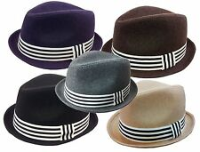 FEDORA TRILBY GANGSTER WOOL ROLL UP FEDORA BUCKET HAT MEN WOMEN CAP with Band