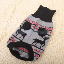 Pet Dog Christmas Deer Pattern Turtleneck Knitwear Sweater Clothes Apparel S/M/L