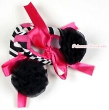 Infant Newborn Baby Girl Hot Pink Zebra Print Crib Shoes Black Rose 0-18Month