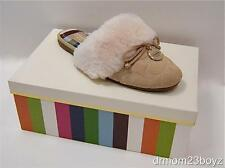 New NIB Coach Carra Signature Shearling Suede Slippers Sand Beige (Great Gift!)