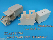Wooden TRUCK with back BOX to decorate AlsoOther Money Boxes & Pencil Pots CRAFT