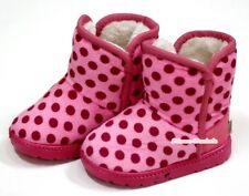 Winter Adorable Casual Toddler Girl Light Pink Wine Red Dot Suede Shoes Boots