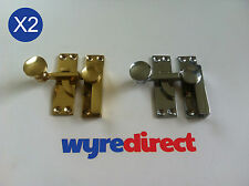 2x Sash Window Fastener Quadrant Arm Solid BRASS/CHROME Window Lock