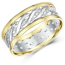 New 9ct Yellow & White Gold Two Colour Celtic Wedding Ring Bands 6mm, 7mm