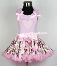 Light Pink Floral Rose Pettiskirt Dress Valentine Heart Ruffle Bow Pink Top 1-8Y