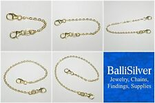 6 pcs 14kt GOLD FILLED 1.5x2mm Flat Cable Chain EXTENDERS with 2 Lobster Clasps