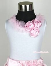 White Tank Top Pettitop Shirt Sleeve Light Pink Ruffle & Bunch Satin Rose NB-8Y