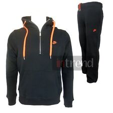 MENS NIKE FLEECE TRACKSUIT HOODY ATHLETIC JOGGERS BOTTOMS PANTS [BLACK/ORANGE]