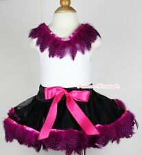 Black Hot Pink Peacock Feather Baby Pettiskirt Skirt Feather White Top Set 3-24M