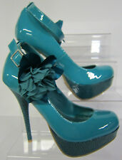 F1978 - Spot On Turquoise Patent Blue Court Shoe Stiletto Ankle Strap *SALE*
