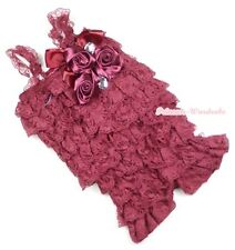 Baby Girls Wine Red Lace Rose Petti Posh Romper Rosettes Crystal Romper NB-3Year