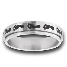 Spinning Stainless Steel Spinner Footprint Fashion Ring Jewelry Size 7-18
