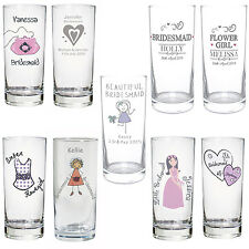 PERSONALISED HI BALL GLASS GIFT/WEDDING FAVOUR FOR BRIDESMAIDS/FLOWER GIRL