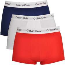 Calvin Klein Men Cotton Stretch 3 Pack Low Rise Trunk Boxer Brief Blue/Red/White