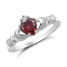 Size 5-9 Heart Love Claddagh Lady's 10KT White Gold Filled Garnet Wedding Ring