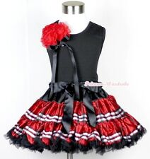 Black Red Plaid FULL Pettiskirt & Bunch Of Hot Red Rosettes Black Tank Top 1-8Y