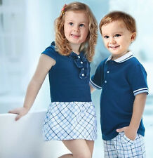 1 NWT Girls Boys Checked Skirt Dress / T-shirt Top +Pants Suits Outfits 2-7Years