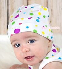Newborn Cotton Warm White Rainbow Polka Dot Print Beanie Cute Baby Girl Hat Cap