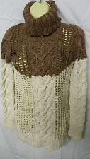 NEW LADIES MISO REPUBLIC SUPER SOFT LOOSE KNIT POLO NECK BROWN JUMPER RRP £44.99