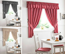 GINGHAM CHECK KITCHEN CURTAINS Ready Made Pencil Pleat Net Curtain Set