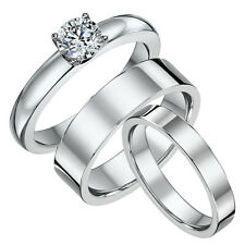 Titanium Engagement & His & Hers Flat Court 4&6mm Wedding Ring Bands