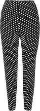 Plus Size Womens Black Polka Dot White Spot Leggings Ladies Long Pants 12 - 26