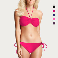 Ladies Classic Bandeau Halter Neck Bikini Top Bottom Set Swimwear Bathers sw2045