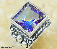 FASHION HUGE SHINY FIRE MYSTICAL TOPAZ VINTAGE 925 Sterling Silver MENS Ring s.9