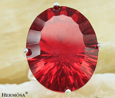 HUGE JEWELRY SHINY FIRE GARNET RED TOPAZ 925 Sterling Silver CHARM Ring GIFT S.8