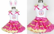 Hot Pink Yellow Rainbow Pettiskirt Easter EGG Ruffle Bow White Top Ear Set 1-8Y