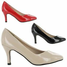 NEW LADIES  FASHION LOW HEEL WORK OFFICE SMART MID COURT SANDALS SHOES UK 3-8