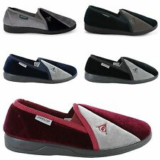 NEW MENS DUNLOP VELOUR TWIN GUSSET SLIPPERS GENTS SHOES SIZES UK 7 -12