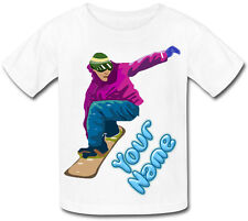 SNOWBOARDING PERSONALISED SUBLIMATION KIDS T-SHIRT - GIFT FOR ANY CHILD & NAMED