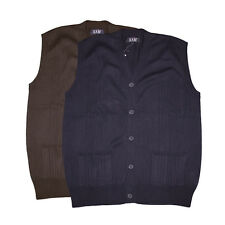NEW MENS KAM JEANS KBS 006 KNITTED SLEEVELESS CARDIGAN BIG KING SIZES 2XL-8XL