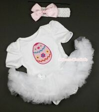 Pure White Jumpsuit EASTER Colorful EGG & White Baby Girl Dress Skirt NB-12Month