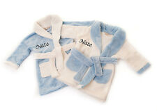 Personalised Embroidered Front & Back Baby Boy's Bath Robe Dressing Gown Blue